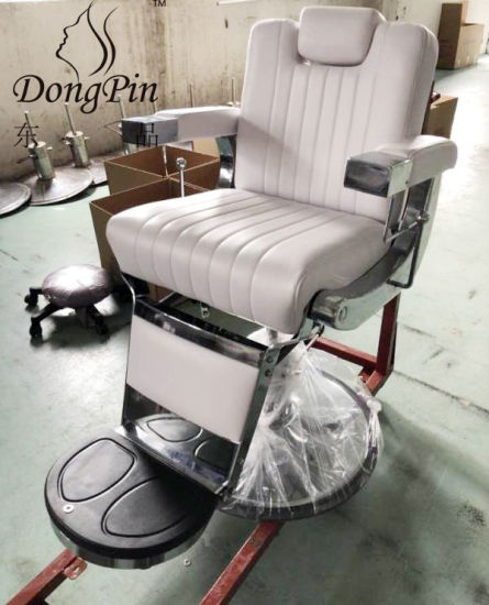 Hydraulic Whtie Barber Chair, Factory Outlet Salon Furniture Equipment