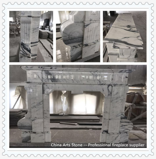 Bianco Arabascata White Marble Fireplace for Home Decoration