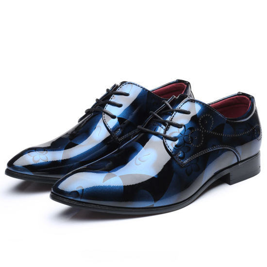 New Men's Shoes with Big Wharf, Bright Leather, Fashionable Business Shoes