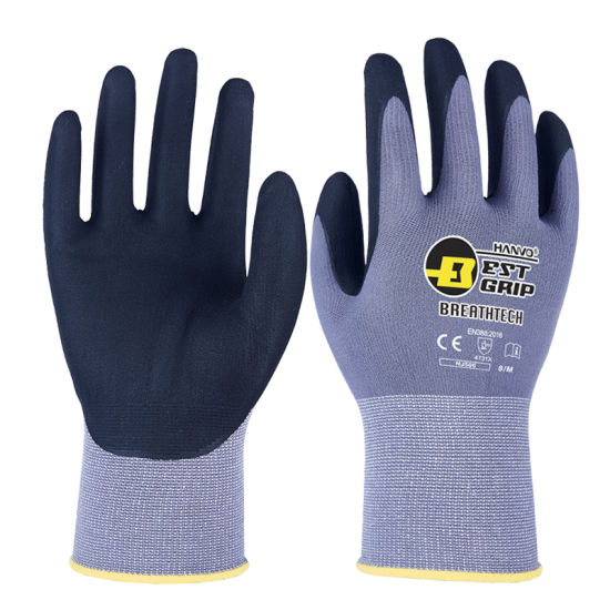 15g Nylon/Spandex Micro Foam Sandy Nitrile Safety Work Gloves