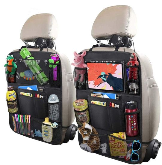 Oxford Fabric Material OEM Touch Screen Tablet Holder Kids Back Seat Car Pocket Organizer