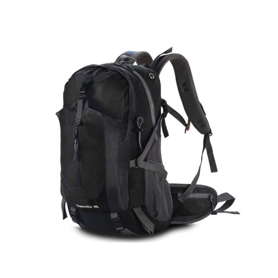 Sports Backpack, Camping Hiking Rucksack Mountaineering Bag 45L Outdoor with Rain Cover for Traveling Trekking Black