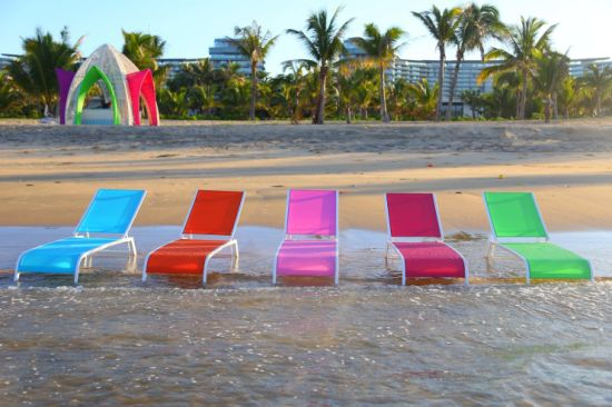 Simple Modern Colourful Lounger with Comfortable Rattan Weave