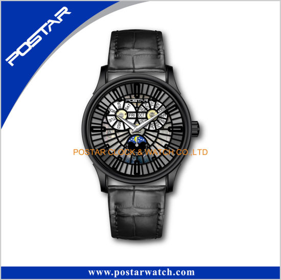 Multifunction Skeleton Automatic Mechanical Black Leather Band Wrist Watch pictures & photos