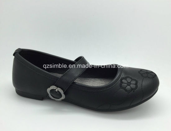 School Shoes with Flowers Embroidery