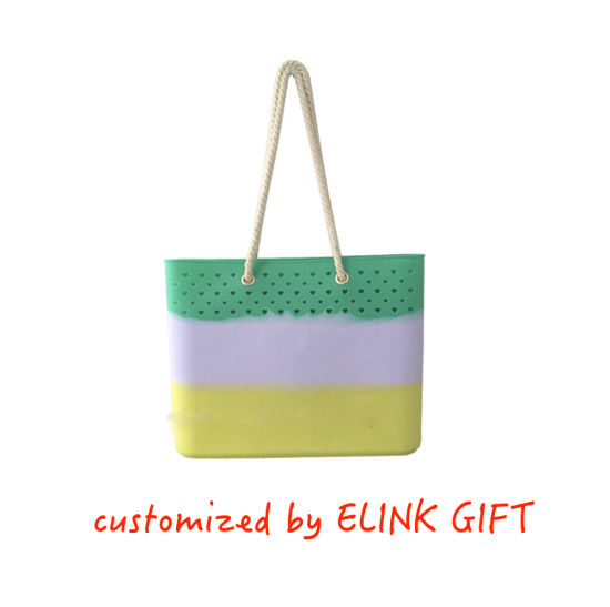 Mixed Color Waterproof Silicone Shopping Bag Tote Bag Beach Bag Should Bad with Rope Handle