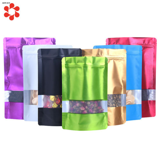 Aluminum Foil Bags Stand Up Zip Lock Pouches With Window Food Grade Package Bags