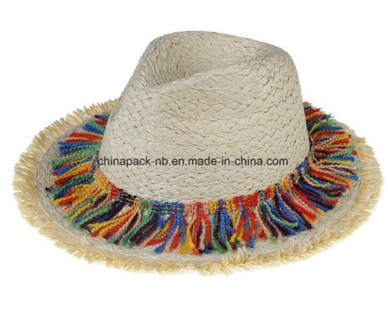 China Wide Brim Woven Paper Straw Hats Fedora Sun Hat - China Wide ... ce91a3fb8c71