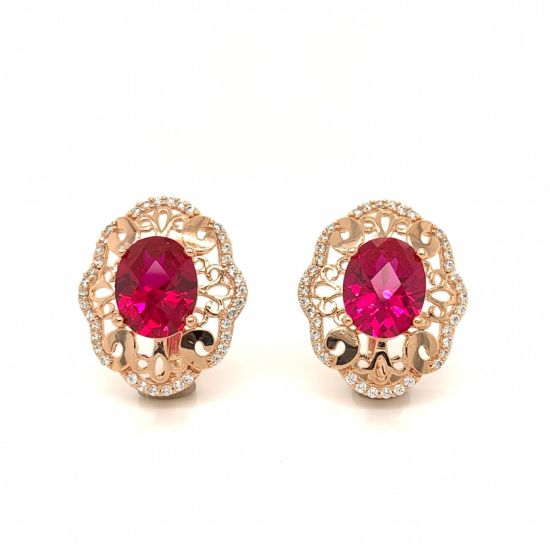 925 Silver 14K 18K Gold Fashion Earring with Color Stone