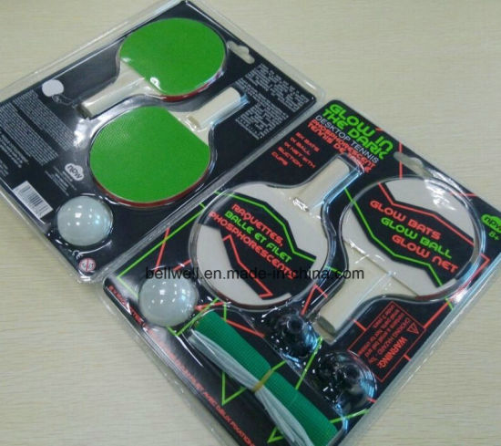 Glow Rubber and Wood Table Tennis Racket Tabletennis Set