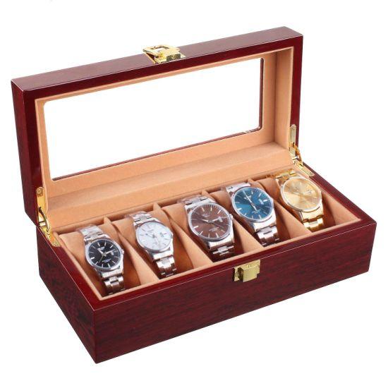 Wood Watch Box 5 Slots Wooden Organizer Wood Display Box Varnish Finish