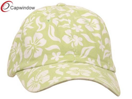 Lime Promotional Cotton Baseball Cap with New Hawaiian Floral Pattern