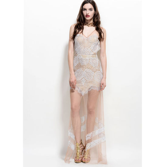 High Quality See Through V Neck Lace Maxi Dress For Lady