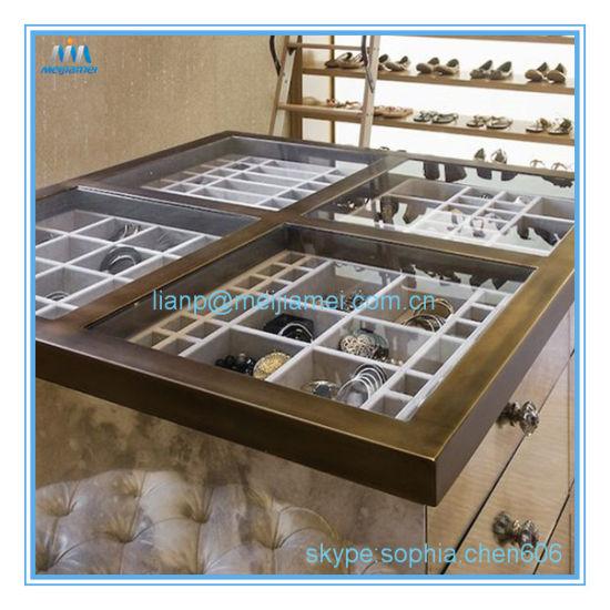 Jewelry Drawer Organizer Wood And Velvet Tray Gray