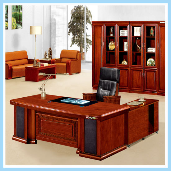 Charmant Modern Luxury Office Table Executive Desk Wooden Furniture With Side Table