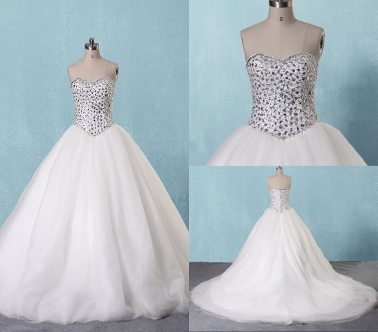 China Luxury Crystal Ball Gown White Wedding Bridal Dresses - China ...