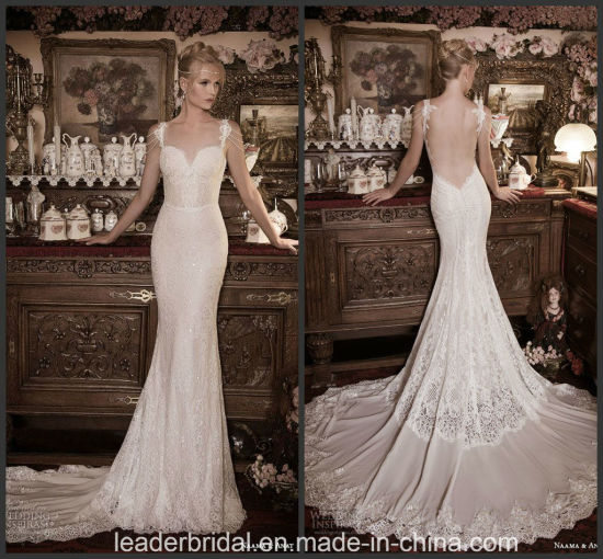 China Backless Lace Bridal Dresses Crystals Trumpet Wedding Gown ...