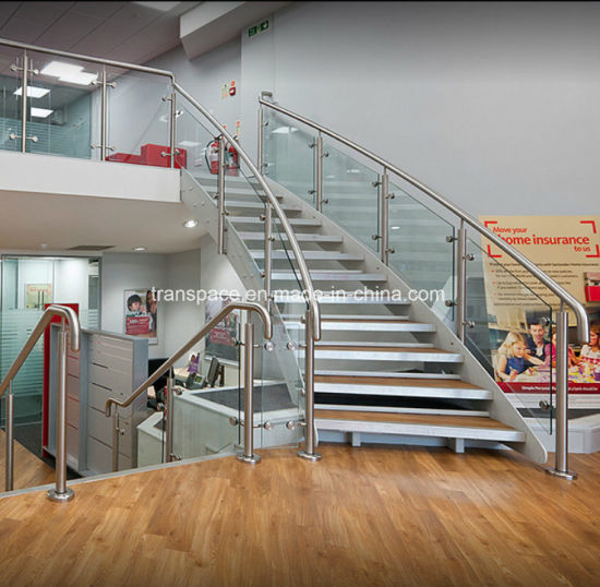 Modern Prefabricated Curved Stairs with Wood Step Glass Railing Curved Staircase