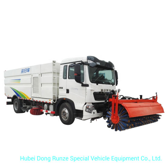 HOWO A7 Outdoor Road Sweeper Truck 8cbm Garbage 2 Cbm Water Stainless Steel 4X2 -Rhd. LHD 5