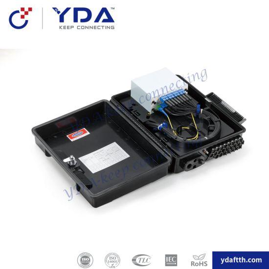 FTTH IP65 Black Plastic Box 32 Core Fiber Optic Distribution Box with PLC Splitter