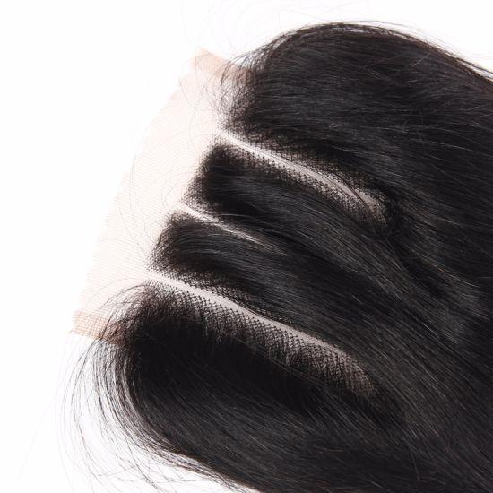 Three Part Peruvian Human Hair 4*4 Lace Closure Straight Hair 16inches