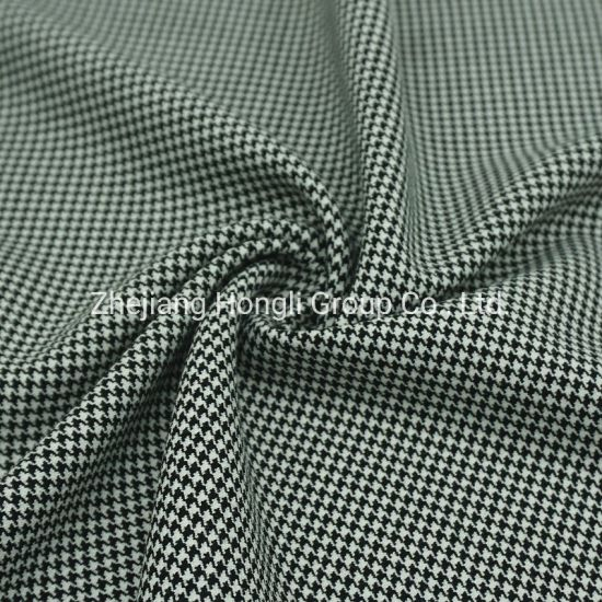 Fabric, T/R, Houndstooth, 63% Polyester 32% Rayon 5% Spandex Swallow Gird Check Tr Fabric