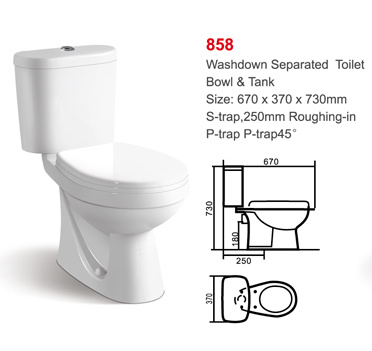 858 Water Closet Wash Down Two Piece Ceramic Toilet pictures & photos