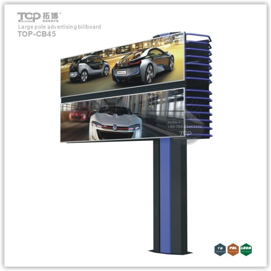 Outdoor Large Pole Double Deck Light Box, Trivision Advertising Billboard