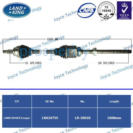 OEM CV Joint CV Axle Drive Shaft Lr-3001r (OE: LR024755) for Land Rover  Evoque