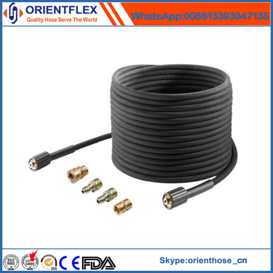 China Steel Wire Braided Flexible High Pressure Washer Rubber Hose ...