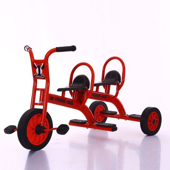 China Supplier Double Seat Bicycle 3 Wheel Children Tricycle for Kindergarten pictures & photos
