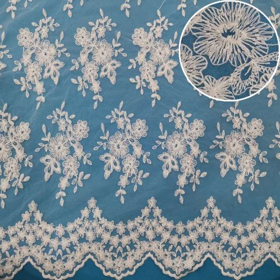 Wedding Mesh Lace Fabric African Polyester Embroidery Lace (C0195)