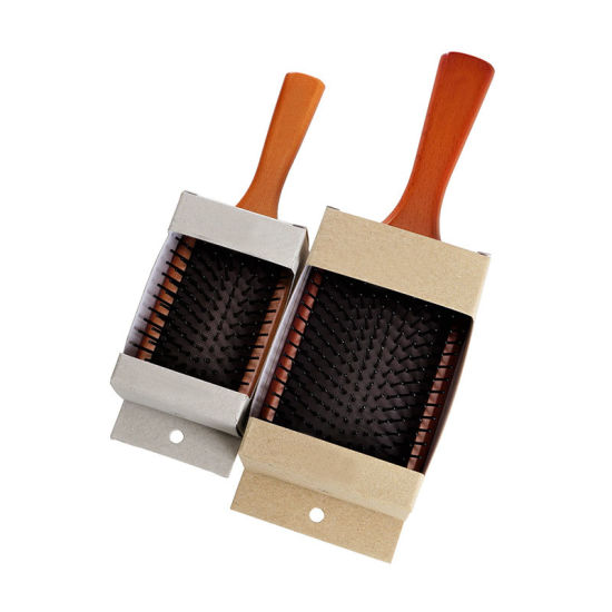 100% Natural Wooden Hair Brush, Square Brushes for Hair, Large Square Paddle Brush Wood Massage Brush with Flexible Bristles, Soft Paddle Hair Brush