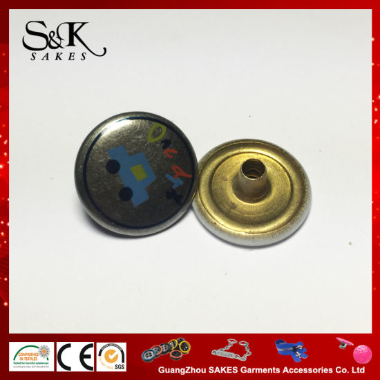 High Quality Anti/Silver Color with Silk Print Metal Snap Button for Garments