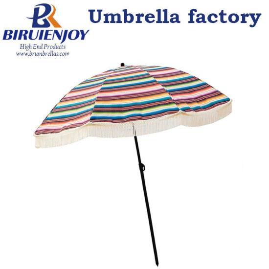 Customized Outdoor Sun Umbrella Polyester Fabric Beach Umbrella with Tassels
