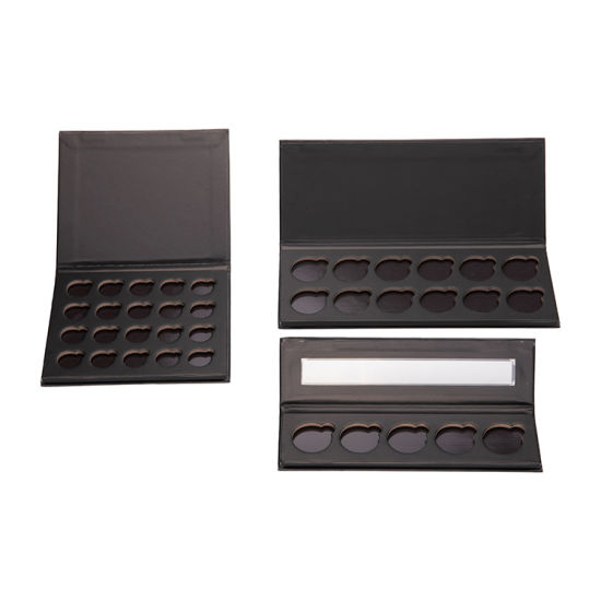 Customizable Private Label Empty Makeup Cardboard Magnetic Black Eyeshadow Palette with 26mm Round Metal Pans