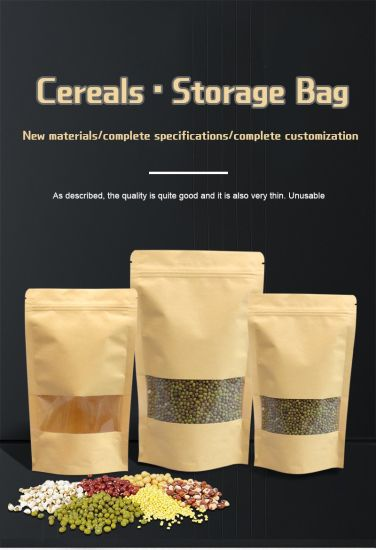 Transparent Food Kraft Paper Bag Cereals Storage Bag