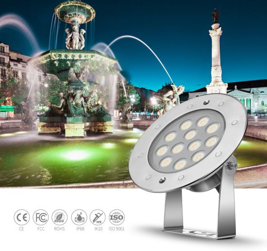 SS316L Stainless Steel 18W External Control RGB IP68 Waterproof Underwater LED Lights