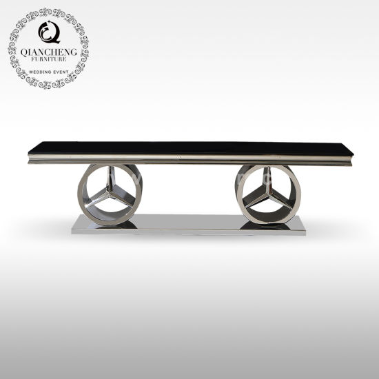Hot Design Mirror Silver TV Stand with Black Glass Top