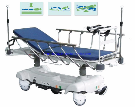 Hospital Equipment Adjustable Luxurious Rise and Fall Hydraulic Stretcher Cart