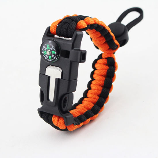 Survival Gear Multi-Functional Camping Paracord Compass Adjustable Whistle 5 In1 Compass Paracord Bracelet