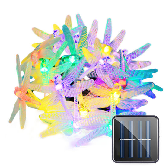 Outdoor Waterproof 20 LED Waterproof Fairy Decoration Dragonfly Solar Battery Operated String Lights