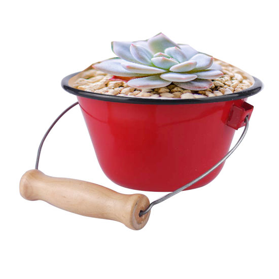 Garden Ornaments Enamel Flowerpot Succulent Plants Flower Pot Home Party Decoration Metal Flowerpot Bucket with Wooden Handle