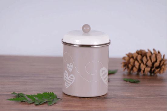 Galvanized Caddy Tea Coffee Sugar Tin Canister