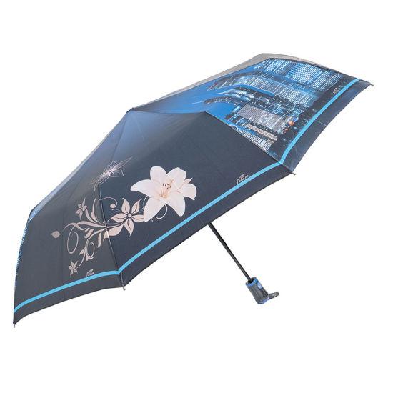 Umbrella Creative 9 Ribs 3 Folding Auto Open and Closed Windproof Rain/Sun Umbrella with Printing Romantic Picture (YZ-19-40)
