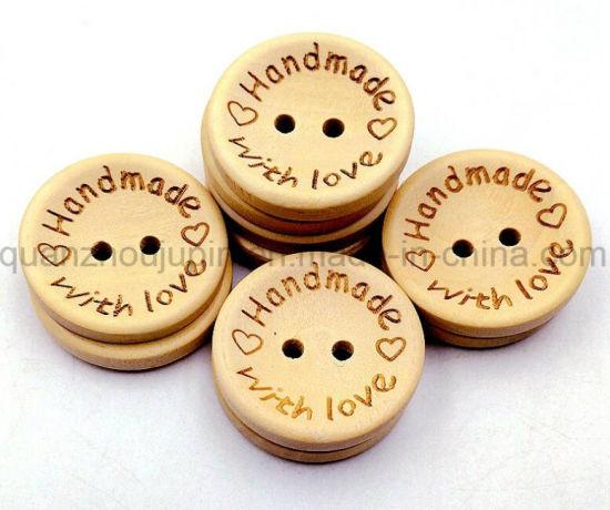 OEM Logo Hot Sale Wooden Round Fastener Button