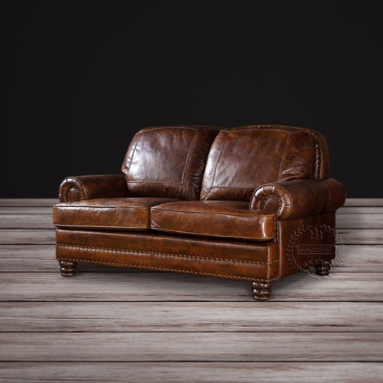 Classic Wood Frame Full Grain Vintage Leather Sofa pictures & photos
