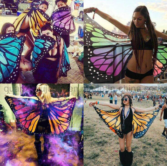 Custom Hot Sale Chiffon Butterfly Shawl Monarch Wings pictures & photos