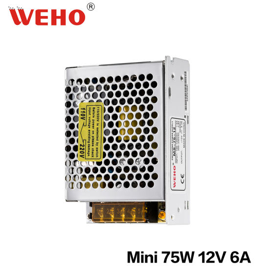 China Weho Power Supply 110V 220V Swtich Single Output 12V 75W SMPS ...