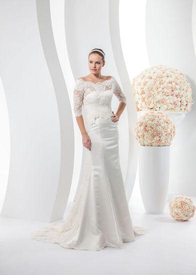 China Custom Made Half Sleeve Lace Bolero Satin Wedding Dress ...